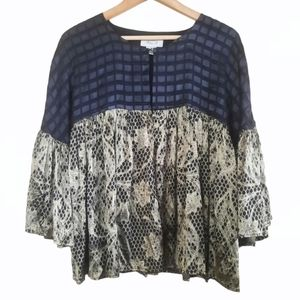 Ania A Silk Blend Mixed Pattern Blouse Size S